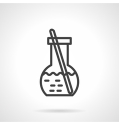 Chemical solution flask simple line icon vector image