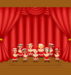 Choir children singing a song on stage vector