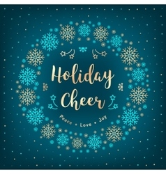 Christmas Holiday Cheer card Christmas wreath vector