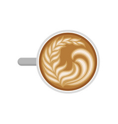 Coffee latte with milk foam in shape of leaf cup vector