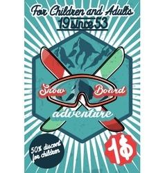 Color vintage Ski sport poster vector