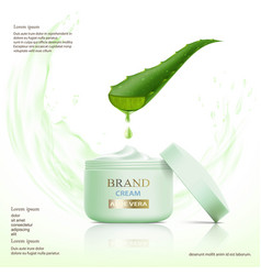 container with cosmetic cream aloe vera leaf vector image