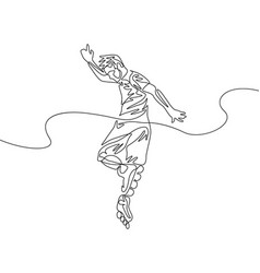 continuous one line man perform a trick on roller vector image