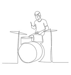 Continuous one line man playing drums vector