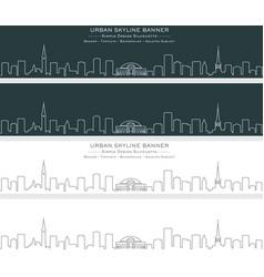 copenhagen single line skyline banner vector image