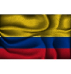 Crumpled flag of Colombia a light background vector