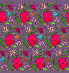 dark romantic flowers pattern with big roses vector image