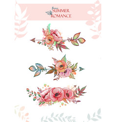 Decorative arrows decorated with poppy flowers and vector