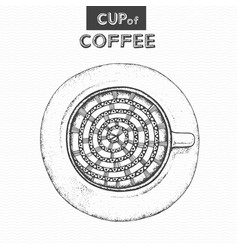 decorative sketch of cup of coffee or tea vector image
