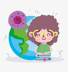 Education online student boy world and stacked vector