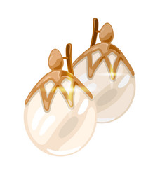 Elegant pink gold earrings with natural round vector