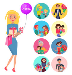 Elegant woman with tulips giftbox and baloon vector