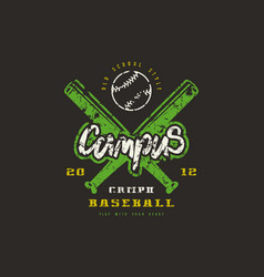 Emblem baseball campus team vector