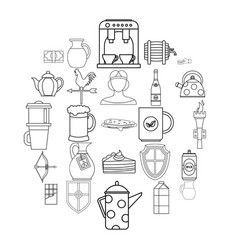 english tea icons set outline style vector image