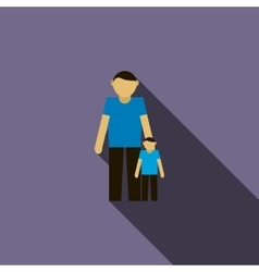 Father and son icon flat style vector image