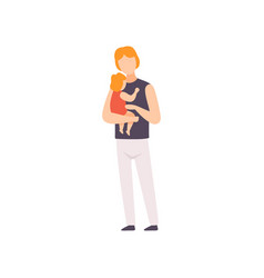 father holding toddler baby on his hands parent vector image
