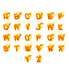 Fiery a to z letters burning abc fire flame hot vector