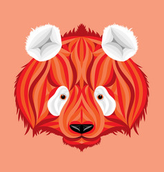 Fire panda picture of bear with white ears vector