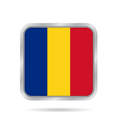 flag of romania metallic gray square button vector image