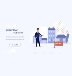 flat cartoon inscription cheap flat for rent vector image