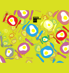 Fried eggs in different shapes vector