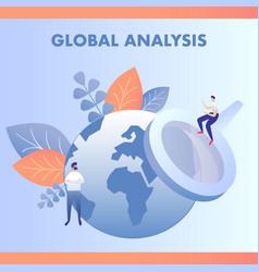 global data analysis flat vector image
