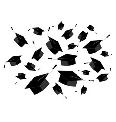 graduation caps fly in the air vector image