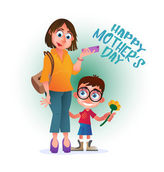 greeting card or poster to happy mothers day mom vector image