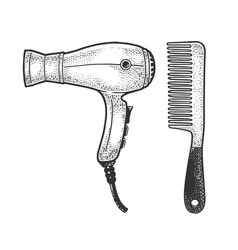 Hair dryer and comb sketch vector