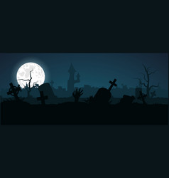 halloween zombie hand crawls out a grave in an vector image