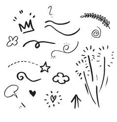 hand drawn set elementsarrow heart love star vector image
