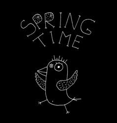 Hand drawn spring bird vector