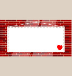Hanging sign with a heart on a brick wall vector