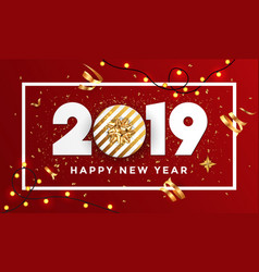 Happy new year 2019 - banner with frame 3 vector