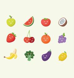 happy smiling cartoon fruits icon vector image