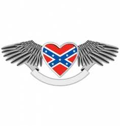 heart with flag of confederacy vector image