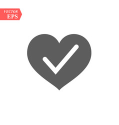 heart with yes check mark vector image