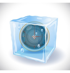 Ice cube with clock vector image