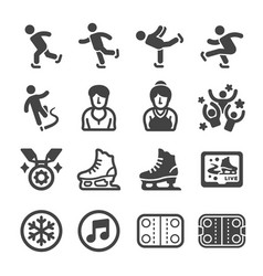 ice skate icon set vector image