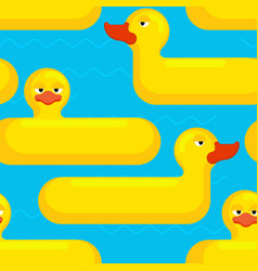 inflatable duck seamless pattern toy for swimming vector image