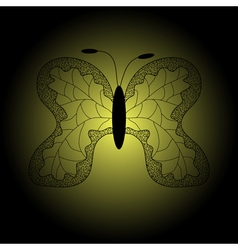 Iron patterned silhouette of butterfly vector