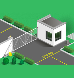 Isometric building guards vector