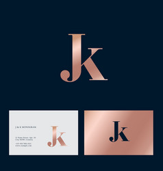 j and k letter monogram combined gold vector image