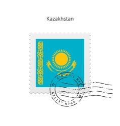 Kazakhstan Flag Postage Stamp vector