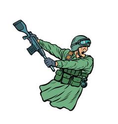 Kick the gun butt soldiers at war vector