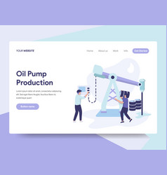 Landing page template of oil pump production vector