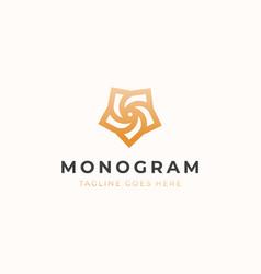 leaf monogram concept logo template vector image