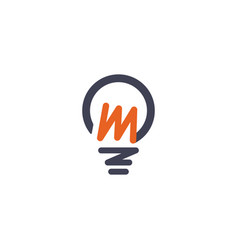 Light bulb idea with m logo template vector