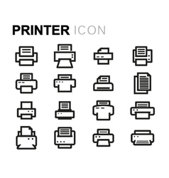 Line printer icons set vector