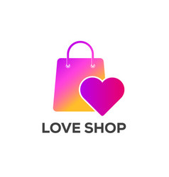 love shop logo designs with instagram colors vector image